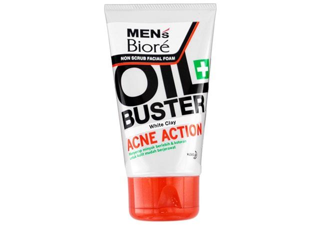 Mens Biore Non Scrub Facial Foam Oil Buster Acne Action