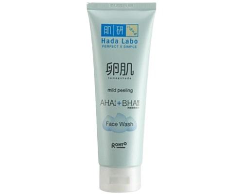 Facial Wash Untuk Kulit Kering Berjerawat, Hada Labo Tamagohada Mild Peeling AHA BHA Face Wash