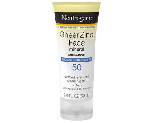 Neutrogena Sheer Zinc Face Mineral Sunscreen SPF 50, Sunscreen Yang Mengandung Zinc Oxide
