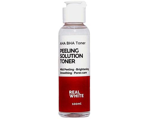 Real White AHA BHA Peeling Solution Toner, Exfoliating Toner Lokal Untuk Kulit Berjerawat